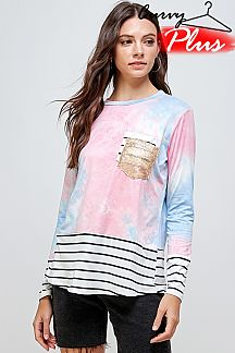 TIE DYE COLOR BLOCK TOP WITH DOUBLE POCKET