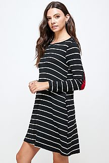 STRIPE SWING DRESS WITH ELBOW PATCH