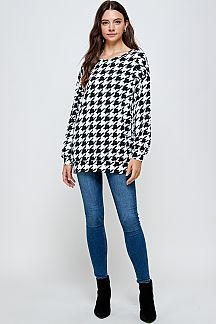 HOUNDSTOOTH PRINT PUFF SLEEVE TOP
