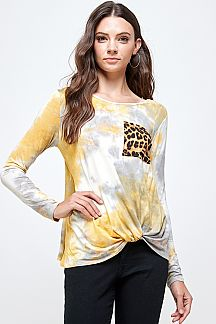 TIE DYE FRONT KNOT TOP WITH LEOPARD POCKET
