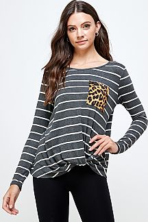 STRIPE FRONT KNOT TOP WITH LEOPARD POCKET