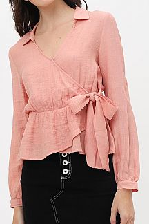 SOLID LONG SLEEVE WRAP SHIRT TOP