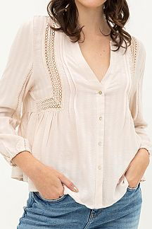 SOLID LACE PIPING BUTTON DOWN SHIRT TOP