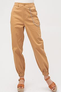 SOLID HIGH WAIST CARGO JOGGER PANTS