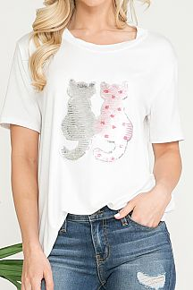 SEQUIN CAT PATCH DETAIL SHORT SLEEVE TOP