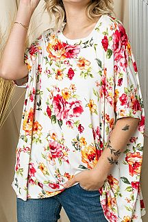 FLORAL PRINT ROUND NECK SHORT SLEEVE BOXY TOP