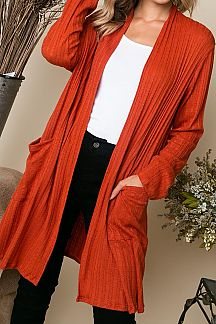 SOLID CASHMERE LONG SLEEVE CARDIGAN