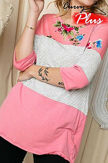 PINSTRIPED AND FLORAL PRINT COLOR BLOCK 3/4SLEEVE TOP
