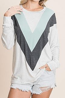 CHEVRON COLOR BLOCK LONG SLEEVE TOP