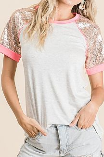 SOLID CONTRAST SEQUIN SHORT SLEEVE KNIT TOP