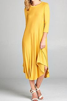 SOLID 3/4 SLEEVE MIDI SWING DRESS