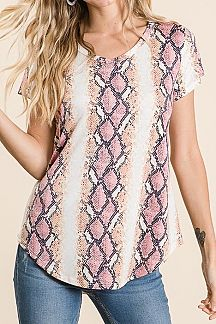 SNAKESKIN PRINT SHORT SLEEVE TOP