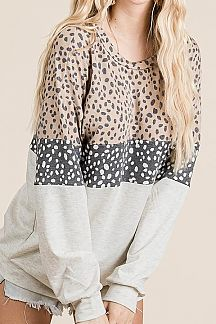 LEOPARD PRINT COLOR BLOCK LONG PUFF SLEEVE TOP