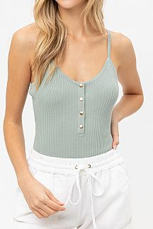 SOLID RIBBED KNIT BODYSUIT