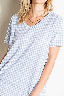 CHECKER PRINT SHORT SLEEVE TUNIC TOP