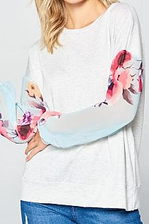 SOLID CONTRAST FLORAL PRINT LONG SLEEVE KNIT TOP