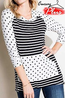 STRIPED CONTRAST POLKA DOT 3/4 SLEEVE HOODIE TOP