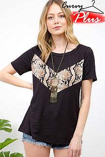 SNAKESKIN PRINT V ACCENTED TOP