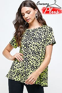 NEON COLOR LEOPARD PRINT TUNIC TOP
