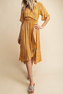STRIPED HALF SLEEVE RUFFLE MIDI DRESS