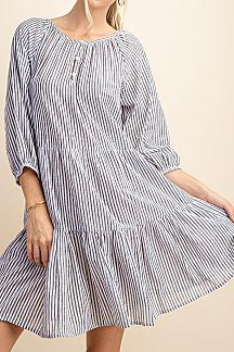 STRIPED 3/4 SLEEVE TIERED DRESS