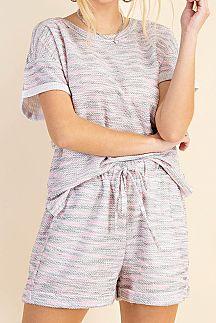 MULTI COLOR STRIPED TEXTUREFABRIC TOP AND SHORTS SET