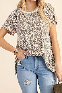 LEOPARD PRINT CONTRAST ROUND NECK KNIT TOP