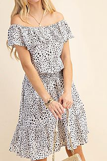 ANIMAL PRINT FOLDED RUFFLE NECKLINE DRESS