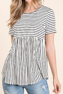 PINSTRIPED SHORT SLEEVE BABYDOLL TOP