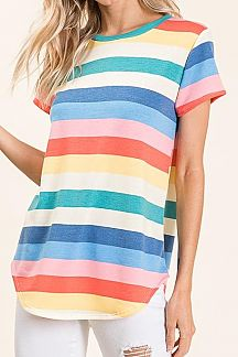 MULTI COLOR STRIPED SHORT SLEEVE TUNIC TOP
