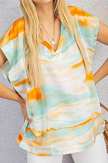 TIE DYE DOLMAN SLEEVE KNIT TOP