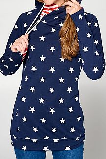 STAR PRINT CONTRAST STRIPED LONG SLEEVE HOODIE TOP