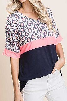 LEOPARD PRINT COLOR BLOCK HALF SLEEVE KNIT TOP