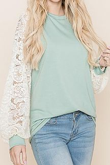 SOLID LACE LONG SLEEVE KNIT TOP