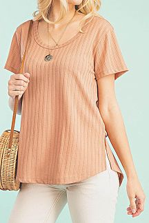 SOLID SHORT SLEEVE RIBBED KNIT TOP