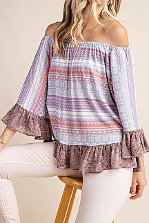 BOHO PRINT CONTRAST PAISLEY PRINT OF SHOULDER TOP