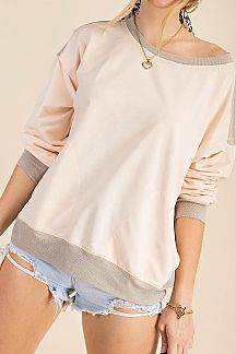 SOLID CONTRAST BANDED DETAIL SWEATSHIRT TOP