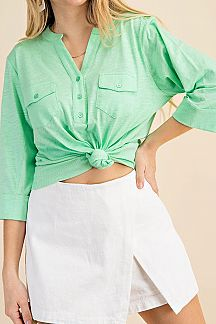 SOLID 3/4 SLEEVE SHIRT TOP