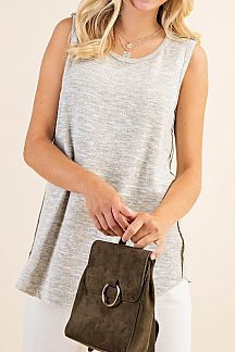 TWO TONE BRUSHED SLEEVELESS KNIT TOP