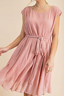 SOLID PLEATED TEXTURED CAP SLEEVE DRESS