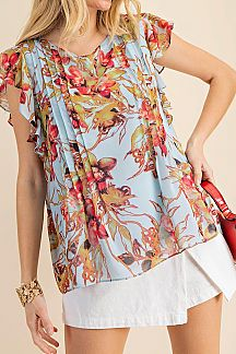 FLORAL PRINT RUFFLE SHORT SLEEVE WOVEN TOP
