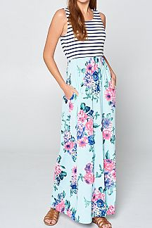 STRIPED TOP AND FLORAL PRINT SKIRT MAXI DRESS