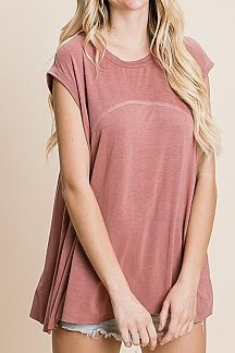SOLID REVERSE STITCH DETAIL TUNIC TOP