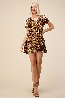 LEOPARD V-NECK SWING DRESS