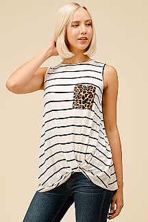 LEOPARD POCKET STRIPED TWISTED FRONT KNOT TOP