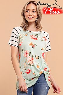 FLORAL PRINT CONTRAST STRIPED RAGLAN TOP