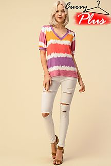 TIE DYE V-NECK TOP PUFF SLEEVE TOP