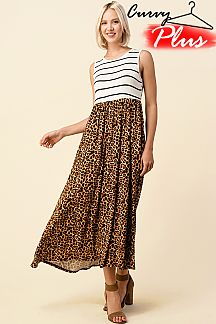 STRIPE & LEOPARD SLEEVELESS MAXI DRESS