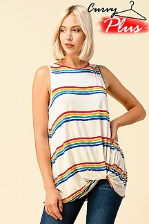 MULTI STRIPED TWISTED FRONT KNOT TOP
