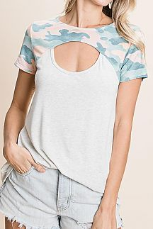 CAMO PRINT COLOR BLOCK CUTOUT KNIT TOP